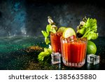 spicy bloody mary cocktail with ...   Shutterstock . vector #1385635880