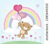 cute teddy bear flies with...   Shutterstock .eps vector #1385644310