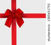 realistic 3d red bow and ribbon ... | Shutterstock .eps vector #1385651753