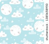 cute hand drawn clouds and... | Shutterstock .eps vector #1385658950