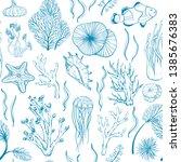 seamless monochrome blue... | Shutterstock .eps vector #1385676383