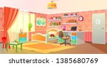 girls room interior  teenage... | Shutterstock .eps vector #1385680769