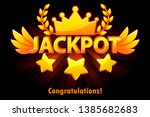 jackpot gold casino lotto label ... | Shutterstock .eps vector #1385682683