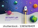 paper art style of rocket... | Shutterstock .eps vector #1385698409