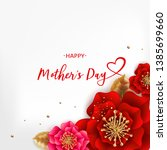 mother's day greeting card with ... | Shutterstock . vector #1385699660