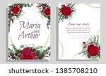 Stock vector vector round frame red roses lavender silhouette dark and light leaves wedding invitation 1385708210