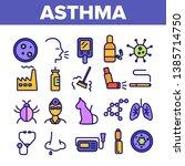 Asthma Illness Vector Thin Lin...