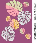 vector tropical pattern with... | Shutterstock .eps vector #1385754260