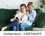family  people and technology.... | Shutterstock . vector #1385766419