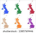 maps of great britain in circles | Shutterstock .eps vector #1385769446