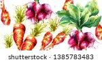 carrots and radish vector... | Shutterstock .eps vector #1385783483