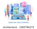 characters choose a tourist... | Shutterstock .eps vector #1385786273
