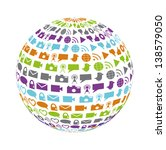 globe filled with social... | Shutterstock . vector #138579050