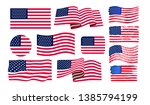 set of american flag. icon... | Shutterstock .eps vector #1385794199