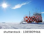 View of the Meteorology research station from Amundsen Scott South Pole Station, Antarctica