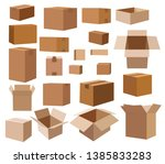 many cartons for moving. brown... | Shutterstock .eps vector #1385833283