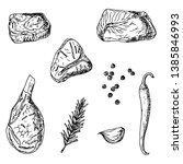 set of raw meat. vector cartoon ... | Shutterstock .eps vector #1385846993