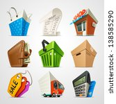 shopping icon set | Shutterstock .eps vector #138585290
