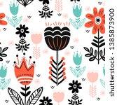 scandinavian folk ethno... | Shutterstock .eps vector #1385873900