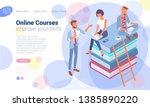 isometric online education...   Shutterstock .eps vector #1385890220