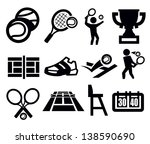 vector black tennis icon set on ... | Shutterstock .eps vector #138590690