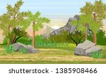 Prehistoric forest. Giant ferns, extinct plants and stones. Scene from Mesozoic or Jurassic period. Realistic Vector Landscape