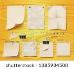 board with papers attached to a ... | Shutterstock .eps vector #1385934500