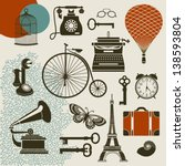 alarm clock,ancient,bicycle,birdcage,black and white,butterfly,clock,communication,design elements,eiffel tower,ephemera,glasses,gramophone,gramophone with tube,hot air balloon