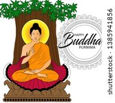 illustration of buddha purnima... | Shutterstock .eps vector #1385941856