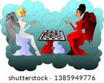 angel and demon play chess... | Shutterstock .eps vector #1385949776