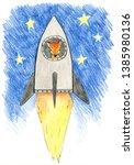 cartoon animals in space. it... | Shutterstock . vector #1385980136