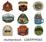 vintage travel logos patches... | Shutterstock .eps vector #1385999060