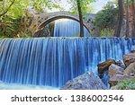 double waterfalls of... | Shutterstock . vector #1386002546