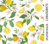 seamless lemon pattern with... | Shutterstock .eps vector #1386008870