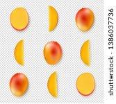 yellow mango fruit isolated...   Shutterstock . vector #1386037736