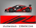 sport car racing wrap design.... | Shutterstock .eps vector #1386061166