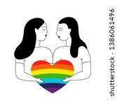 love of two women  homosexual...   Shutterstock .eps vector #1386061496
