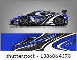 sport car racing wrap design.... | Shutterstock .eps vector #1386064370