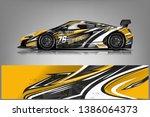 sport car racing wrap design.... | Shutterstock .eps vector #1386064373