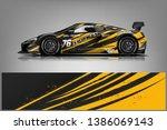 sport car racing wrap design.... | Shutterstock .eps vector #1386069143