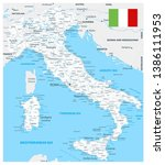 italy road map white color  ... | Shutterstock .eps vector #1386111953