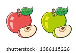 red and green apple fruit with... | Shutterstock .eps vector #1386115226