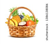 Basket With Tropical Fruits...