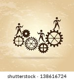 gear and people over vintage... | Shutterstock .eps vector #138616724