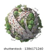 traffic concept. planet as... | Shutterstock . vector #1386171260