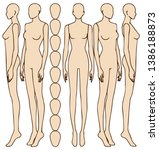 female body silhouette front... | Shutterstock .eps vector #1386188873