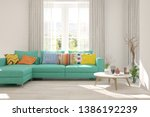 stylish room in white color... | Shutterstock . vector #1386192239