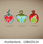 healthy icons over brown... | Shutterstock .eps vector #138620114