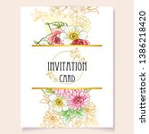 invitation greeting card with... | Shutterstock . vector #1386218420