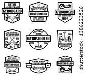 set of gyro scooter emblems....   Shutterstock .eps vector #1386223526